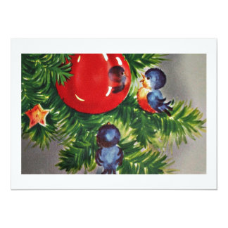Bluebirds in the Christmas Tree Card
