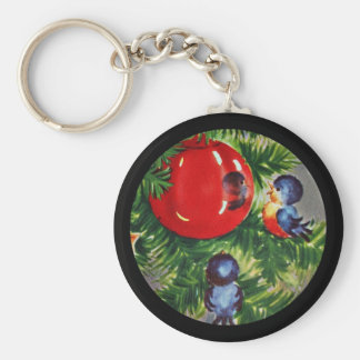 Bluebirds in the Christmas Tree Keychain