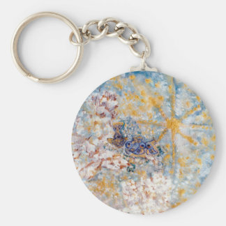 Bluebirds in the Snow Designer Art Keychain