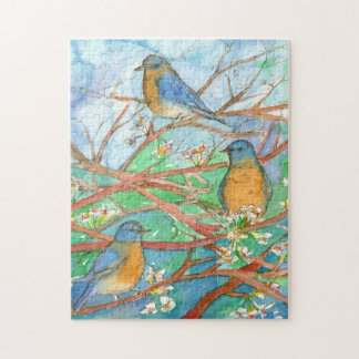 Bluebirds In Tree Watercolor Nature Painting Jigsaw Puzzle