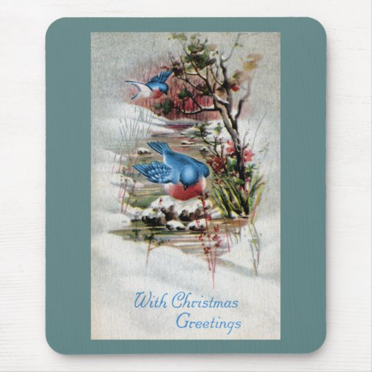 Bluebirds in Winter Vintage Christmas Mouse Pad