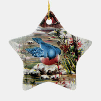 Bluebirds in Winter Vintage Christmas Double-Sided Star Ceramic Christmas Ornament