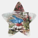 Bluebirds in Winter Vintage Christmas Star Sticker