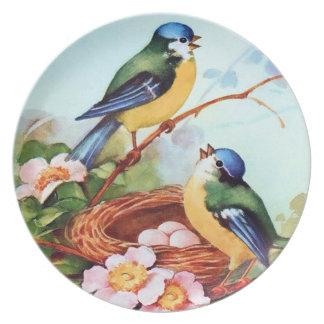 Bluebirds lindos de la primavera con la jerarquía plato para fiesta