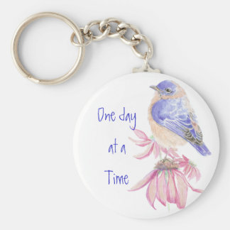 Bluebirds, Motivational, One day at a Time Quote Basic Round Button Keychain