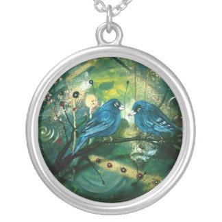 Bluebirds Round Pendant Necklace