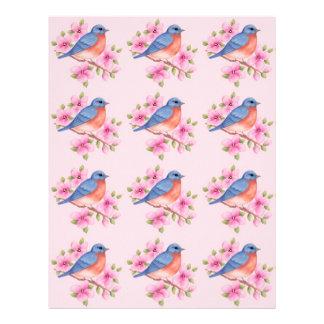 Bluebirds on a Pink Background Scrapbook Paper Letterhead