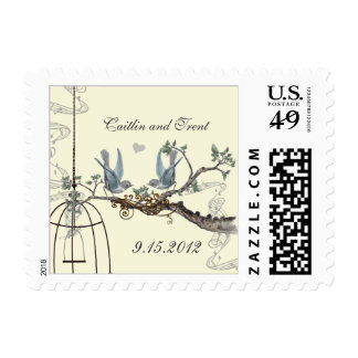 Bluebirds on Cream Wedding Postage
