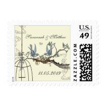 Bluebirds on Cream Wedding Postage