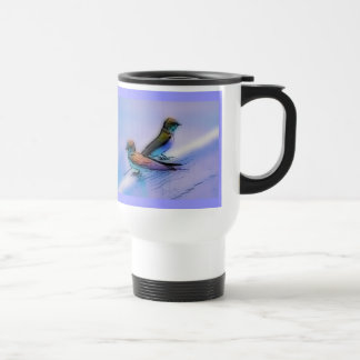 Bluebirds on Fence Artistic Bird-lovers Travel Mug