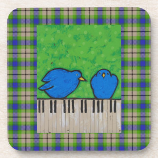 bluebirds on piano on plaid coaster