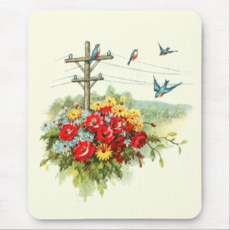 Bluebirds on Power Line Mouse Pad