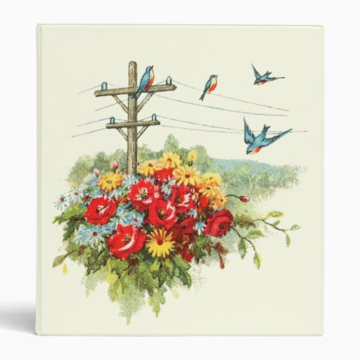 Bluebirds on Power Line Vinyl Binders