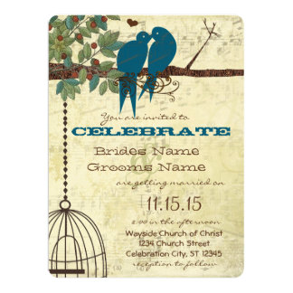 Bluebirds Sitting In a Tree Wedding Invite