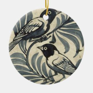 Bluebirds (w/c en el papel) adorno navideño redondo de cerámica
