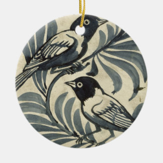 Bluebirds (w/c on paper) christmas tree ornament