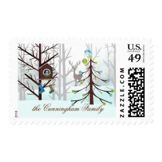 Bluebirds Winter Forest | Custom Christmas Postage