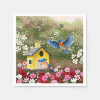 Bluebirds y Birdhouse amarillo de la escuela Servilletas De Papel