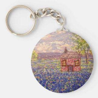 bluebonnet cottage basic round button keychain