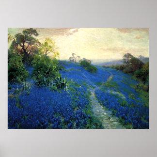 Bluebonnet Field, Julian Onderdonk painting Poster