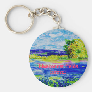 bluebonnet fields forever basic round button keychain