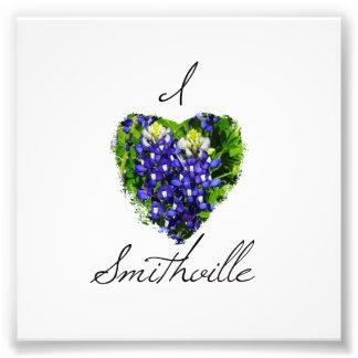 "Bluebonnet ""I Heart Smithville"" Square Photo Print"