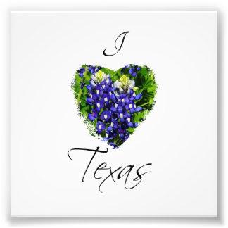 "Bluebonnet ""I heart Texas"" Square Photograph Print"