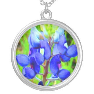 Bluebonnet photo sterling silver charm necklace
