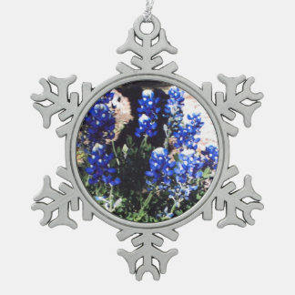 Bluebonnet Snowflake Snowflake Pewter Christmas Ornament