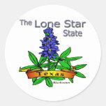 Bluebonnet solitario del estado de la estrella de etiquetas redondas