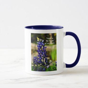 "Coffee Themed Bluebonnet ""Texas is the Home of My Heart"" Mug"