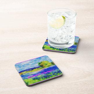 bluebonnet wildflowers art drink coasters