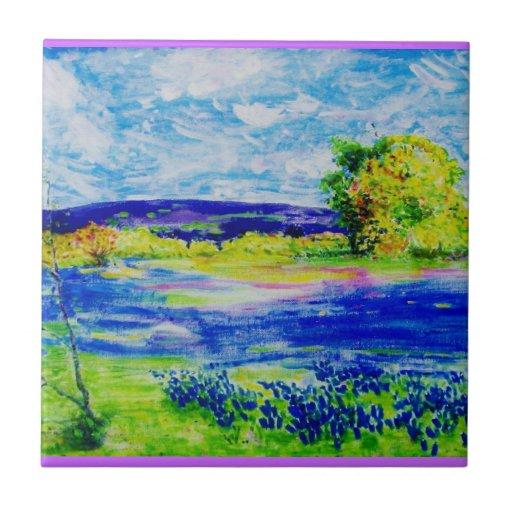 bluebonnet wildflowers art tile