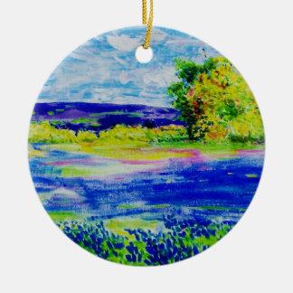bluebonnet wildflowers colours ceramic ornament