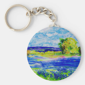 bluebonnet  wildflowers basic round button keychain