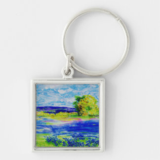 bluebonnet  wildflowers Silver-Colored square keychain