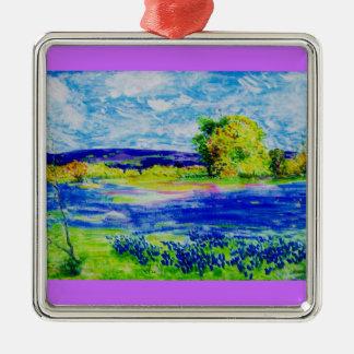 bluebonnet wildflowers metal ornament