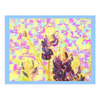 bluebonnet wildflowers upclose(always flowers) postcard
