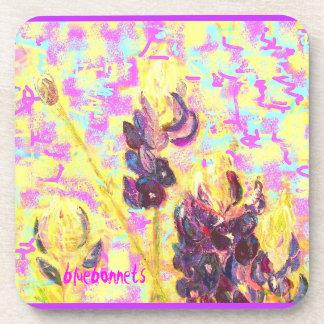 bluebonnet wildflowers upclose coaster