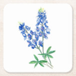 """Bluebonnets 3 square paper coaster<br><div class=""""desc"""">The image was created with watercolor and digitized.</div>"""