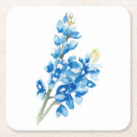 """Bluebonnets 4 square paper coaster<br><div class=""""desc"""">The bluebonnet image was created with watercolor and digitized.</div>"""