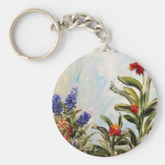 Bluebonnets and Canna Lilies Basic Round Button Keychain