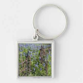 Bluebonnets and phlox surrounding cemetery gate Silver-Colored square keychain