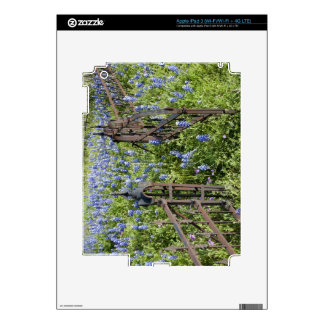 Bluebonnets and phlox surrounding cemetery gate skins for iPad 3