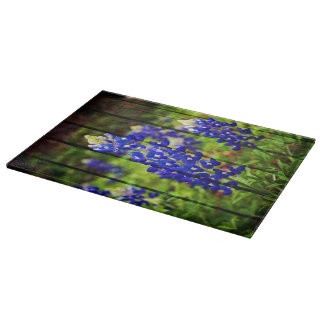 Bluebonnets and Wood Cutting Board