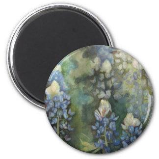 Bluebonnets de la acuarela imán redondo 5 cm