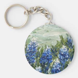 Bluebonnets Basic Round Button Keychain