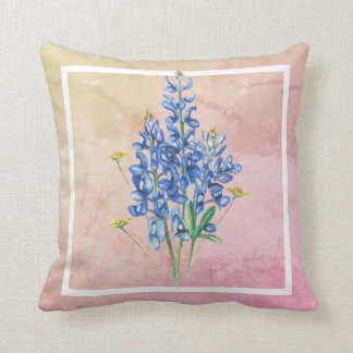 Bluebonnets on Pink Background Throw Pillow