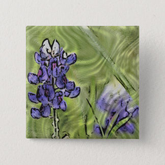 Bluebonnets Painted on Glass Surface Pinback Button
