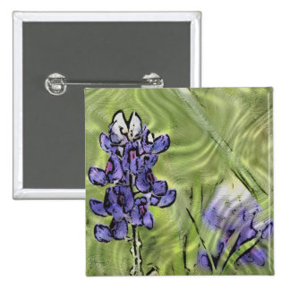 Bluebonnets pintados en la superficie de cristal pin cuadrada 5 cm